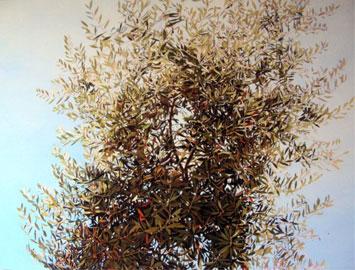 Paola Marzoli, Gerusalemme Getsemani, giugno 2010, olio su tela di lino, cm 120x160 'Ipocriti! Sapete valutare l'aspetto della terra e del cielo, come mai non sapete valutare questo tempo?' Lc 12, 54-56