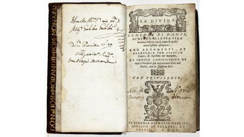 Dante Alighieri, La Divina Commedia, Venezia 1555. Esemplare dedicato da Orazio Morandi a Galileo Galilei