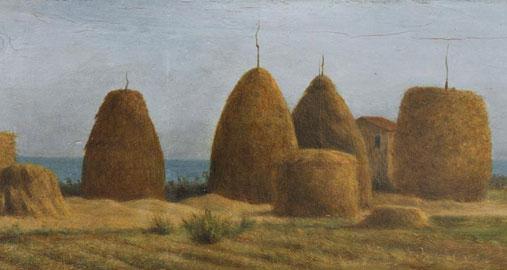 Raffaello Sernesi: Pagliai a Castiglioncello, olio su tavola, cm 20 × 51 1865 circa