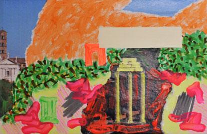 Flavio De Marco, Paesaggio con veduta (Roma III), 2010, acrilico, pennarello e collage su tela su tavola, 10,5 x 15 cm, Courtesy of the Artist