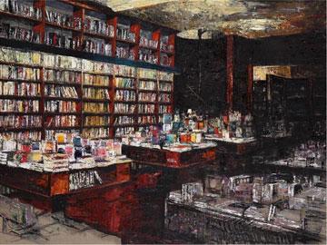 Giannoni, Interno di libreria 2010 olio su tela cm 150x200