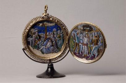 Medaglione in smalto e madreperla con le Storie della Passione, fine XV secolo, Madrid, Collezione Valencia de D. Juan