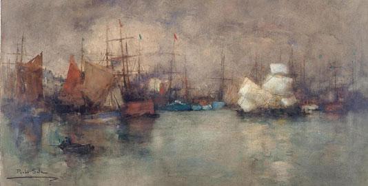 Paolo Sala, Sul Tamigi, 1900-1905 circa, acquarello su cartone, cm 67 x 111, Galleria d'Arte La Colomba, Viganello