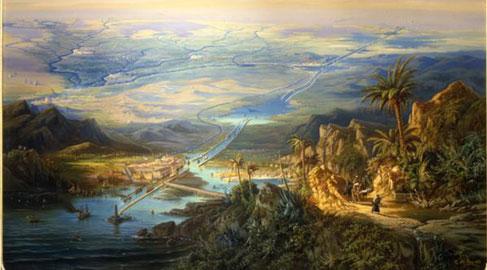 Alberto Rieger Il canale di Suez, 1864 Olio su tela, 180x127 cm Trieste, Museo Rivoltella, Galleria d'Arte Moderna