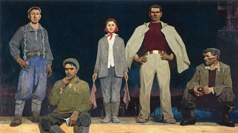 Viktor Popkov, Costruttori di Bratsk, 1960-1961, Galleria Statale Tret'jakov, Mosca