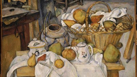 Paul Cézanne, Il tavolo di cucina – Natura morta con cesta, (1888-1890), olio su tela; 65x80 cm,  Parigi, Musée d'Orsay, lascito di Auguste Pellerin, 1929, © RMN (Musée d'Orsay) / Hervé Lewandowski