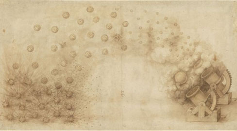 """Leonardo, Due bombarde che scagliano palle esplosive Veneranda Biblioteca Ambrosiana, CA f. 33 recto, Sezione """"CAPOLAVORI TRA CAPOLAVORI"""" / Capolavori della grafica di Leonardo"""