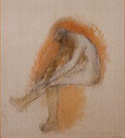 Zoran Music, Uomo seduto, 1991, olio su tela, 146x97 cm