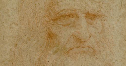 """Leonardo da Vinci - """"Autoritratto"""" (particolare), Sanguigna su carta, 1515-16, Torino, Biblioteca Reale"""