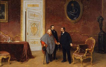 Gerolamo Induno, La visita di Garibaldi a Vittorio Emanuele II, 1879, olio su tela, Milano, Museo del Risorgimento