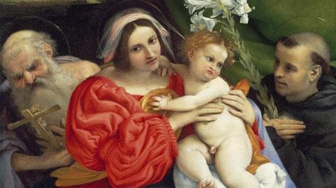 Lorenzo Lotto, La Vergine e il Bambino con San Girolamo e san Nicola da Tolentino (Particolare), 1523–1524 olio su tela, cm 94,3 x 77,8 Boston, Museum of Fine Arts