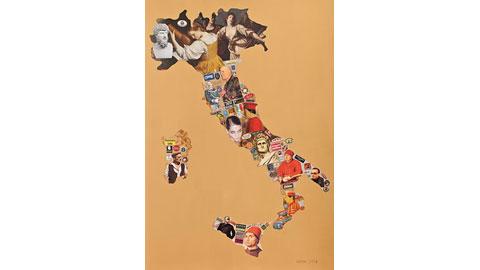 Marco Gerbi, Voci dalla paura - acrilico e collage su cartone - 2010 - 100x70 cm