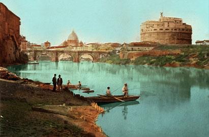 Castel Sant'Angelo - Fiume Tevere - Pescatori, Roma, Italia 1880 circa, Stampa all'albume, colorata a mano