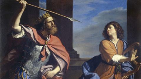 Saul tenta di uccidere David con la lancia, 1646, Olio su tela, cm. 147x200, Roma, Galleria Nazionale d'Arte Antica di Palazzo Barberini