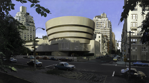 Richard Estes (b. 1932) The Solomon R. Guggenheim Museum, Summer 1979 Oil on canvas 31 1/8 x 55 1/8 inches (79 x 140 cm) Solomon R. Guggenheim Museum, New York Purchased with the aid of funds from the National Endowment for the Arts, in Washington, D.C., a Federal Agency; matching funds contributed by Mr. and Mrs. Barrie M. Damson, 1979