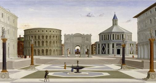 PITTORE DELL'ITALIA CENTRALE, Veduta di una Città ideale, Tempera su tavola, cm. 80,3 x 220 x 3,2 supporto ligneo; cm. 77,4 x 220 superficie dipinta, BALTIMORA (USA), Walters Art Gallery