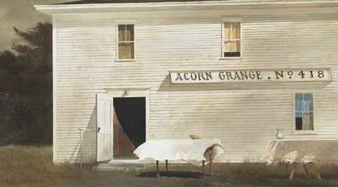 Wyeth Andrew, Sloop Day, 1975 tempera su tavola, cm 40,6 x 75,6 courtesy Adelson Galleries and Frank E. Fouler © Andrew Wyeth