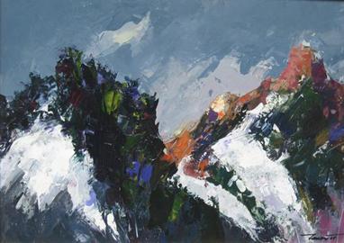 Sandra Tenconi, Spaccature innevate (Passo Sella), 2008 acrilico su tela 50x70