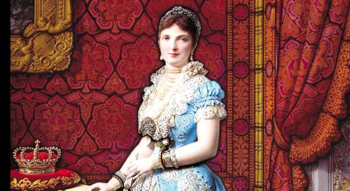 La Regina Margherita di Savoia, Francesco Moretti, 1881, ritratto su vetro, cm 208 x 143, Perugia, Museo - Laboratorio di vetrate artistiche, Moretti Caselli, particolare