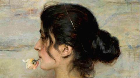 ETTORE TITO, Con la rosa tra le labbra, 1895 Olio su tavola, 25,4 x 41,4 cm