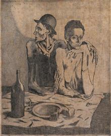 Pablo Picasso, Le repas frugal, 1904, Acquaforte, Collezione privata © Succession Picasso, by SIAE 2012