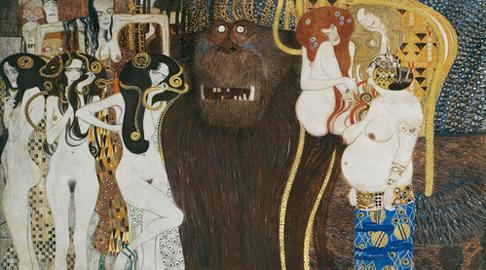 Gustav Klimt, Particolare dal fregio di Beethoven, 1901-1902, Materiali vari