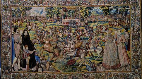 Un torneo della serie delle Feste dei Valois, 1575ca.; manifattura di Bruxelles; disegno di Antonio Caron, 1564 ca.; cartone di Lucas de Heere,  Depositi della Galleria degli Uffizi, Firenze