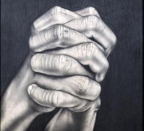 Daniela Alfarano, La pelle, 123 x 104 cm, tecnica a grafite su legno, 2007