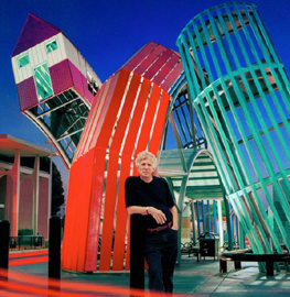 Dennis Oppenheim, Ventura, California Photo Focus on the Masters, 2006, In front of Bus Home 2002 © Dennis Oppenheim Studio e Galleria Fumagalli