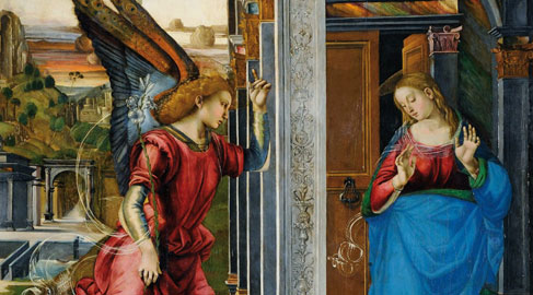 Luca Signorelli, Annunciazione (particolare), Volterra, Pinacoteca civica, olio su tavola, cm. 258 x 190, 1491