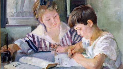 Armando Spadini (Firenze, 1883- Roma, 1925), Bambini che studiano, 1918, olio su tela, 87x101 cm, Roma, Banca d'Italia