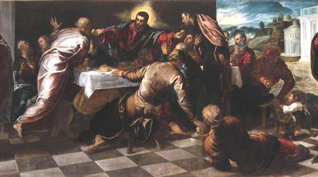 Jacopo Robusti, detto Tintoretto, Ultima Cena 1574-75, Olio su tela, 228 x 535 cm Venezia, Chiesa di San Polo, particolare