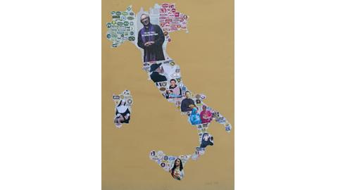 "Marco Gerbi, ""Fedeli"" - acrilico e collage su cartone - 2011 - 100x70 cm"
