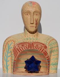 Mimmo Paladino, Senza titolo, terracotta dipinta, 65 (h) x 50 x 35 cm