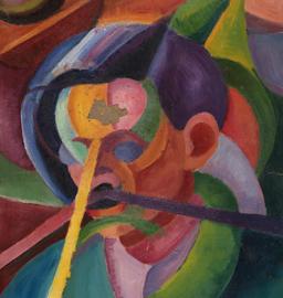 Umberto Maganzini, Illuminazione, olio su cartoncino. Collezione privata