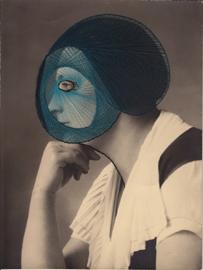 Maurizio Anzeri, Profiles Blue,2012, ricamo su fotografia, 23,5x18 cm