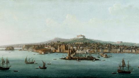 A.Joli Veduta panoramica di Napoli dal mare