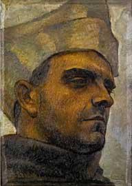 Anselmo Bucci: Autoritratto (Studio per),1923,olio su Tavola 35x25cm. Montrasio Arte Monza Milano