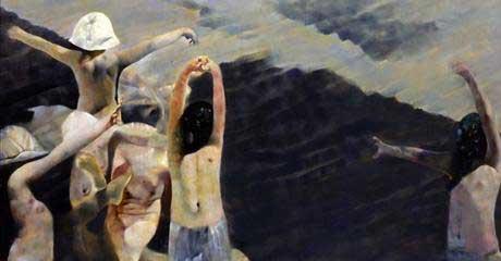 Renzo Vespignani - Colonia a Cesenatico (le spiagge del '39) - 1974, olio su tela. Collezione privata
