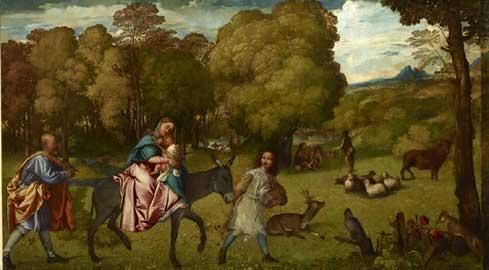 Tiziano Vecellio La Fuga in Egitto Olio su tela 206x336 cm San Pietroburgo, Museo Statale Ermitage