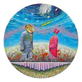 Sogno di un incontro, 2012, olio su tavola, diam. cm 100