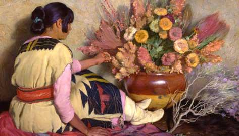 Joseph Henry Sharp, (Bridgeport, 1785 - Pasadena1862), Crucita, ragazza indiana di Taos con antico vestito,  nuziale della tribù Hopi e fiori secchi, 1926 – 1928 olio su tela, 141 x 120 cm, Tulsa, Gilcrease Museum