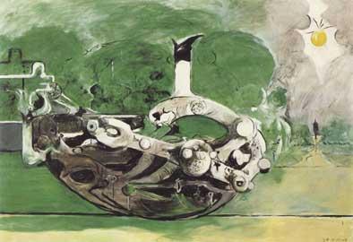 Graham Sutherland, Poised Form in a Landscape, 1969, olio su tela cm 117 x 170