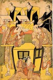 Torii Kiyonaga (1752-1815), Tre attori kabuki attorno a una portantina, Xilografia su carta, nishiki-e con gauffrage, Periodo Edo, seconda metà XVIII secolo