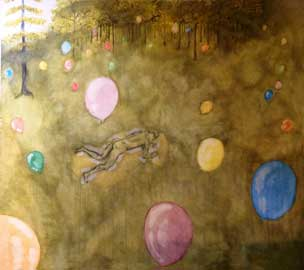 Gianluca Miniaci, asleep in the woods, tecnica mista e carta di riso, 160x180 cm, 2012