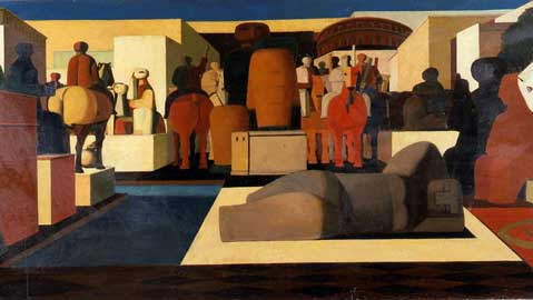 Salvatore Fiume, Via Raffele Carrieri, 1948, olio su tela, cm 76x48