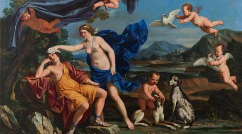 Giacinto Gimignani (1606-1681), Venere e Adone, olio su tela, cm 80 x 112