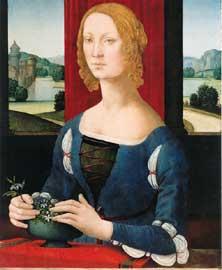 Lorenzo di Credi, Ritratto di giovane donna o Dama dei gelsomini, 1485-1490. Olio su tavola, 77,2 x 55 x 2,5 cm, Pinacoteca civica, Musei San Domenico, Forlì