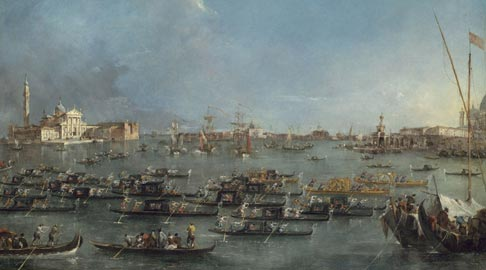 Guardi, Corteo di gondole nel bacino di San Marco, Museum of Fine Arts, Boston
