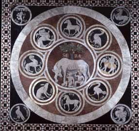 Lupa che allatta Romolo e Remo.Siena, pavimento del Duomo